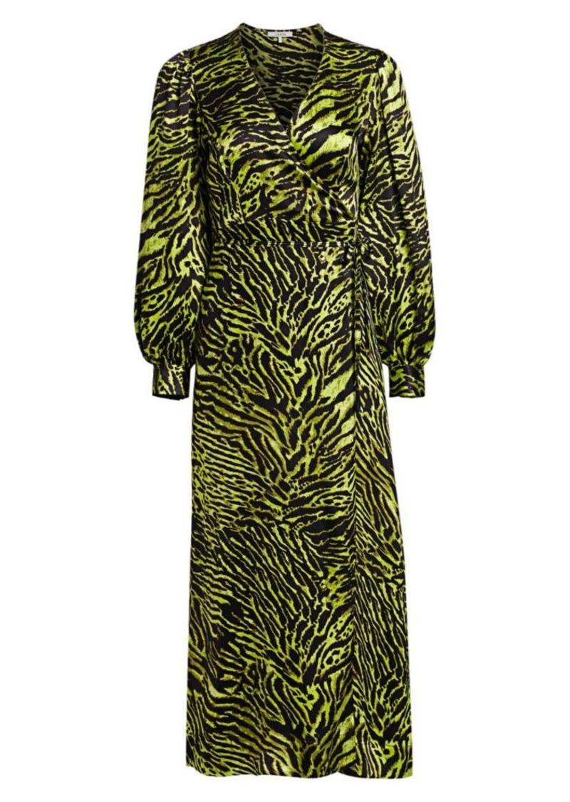 Ganni Stretch Silk Satin Tiger-Stripe Wrap Dress