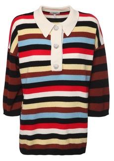 Ganni Striped Cashmere Knit Polo Sweater