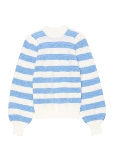 Ganni Striped Soft Wool Knit Pullover