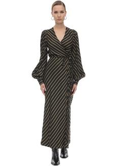 Ganni Striped Viscose Midi Dress