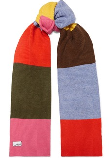 Ganni Striped Wool-blend Scarf