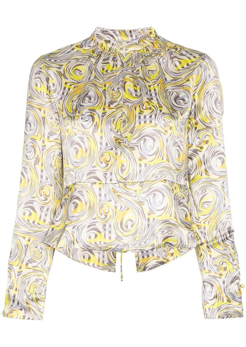 Ganni swirl print blouse