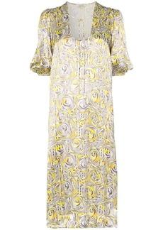 Ganni swirl print midi dress