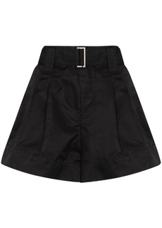 Ganni thigh-length belted shorts