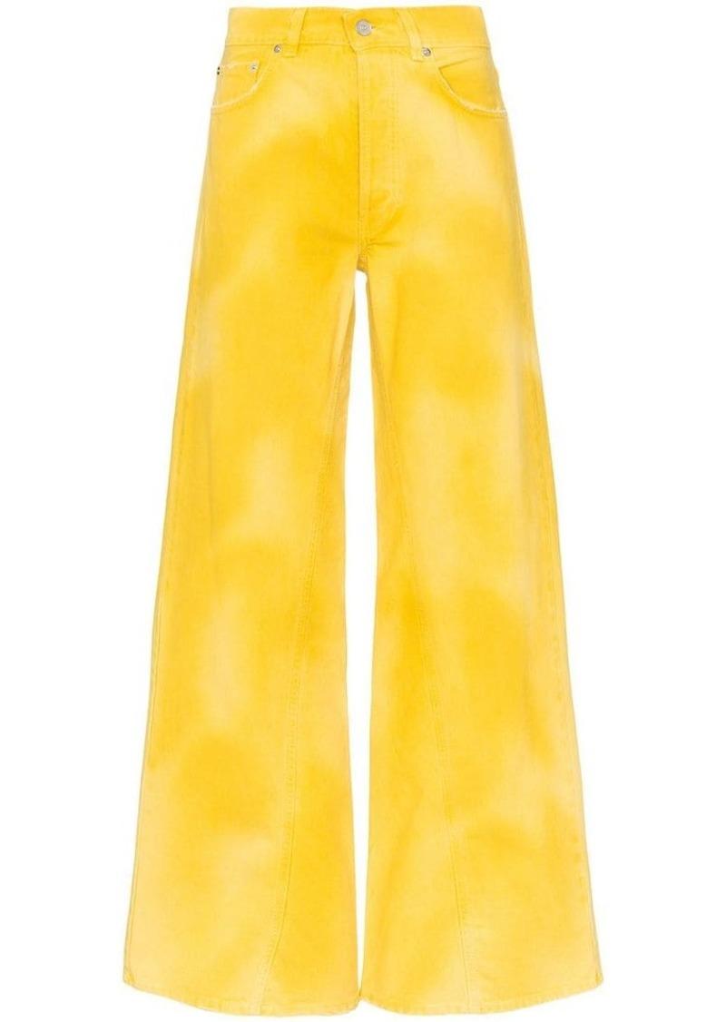 tie-dye wide leg jeans