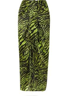 Ganni Tie-front Tiger-print Silk-blend Satin Midi Skirt