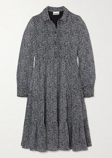 Ganni Tiered Floral-print Georgette Midi Shirt Dress