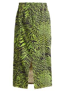 Ganni Tiger Denim Midi A-Line Skirt