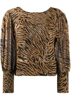 Ganni tiger print blouse