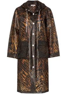Ganni tiger-print hooded raincoat