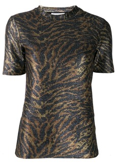 Ganni tiger print knitted top