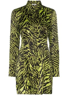 Ganni tiger print shirt dress