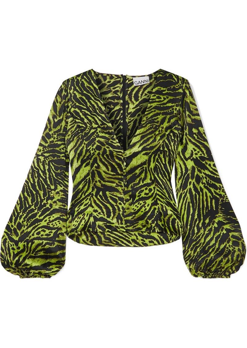 Ganni Tiger-print Silk-blend Satin Top