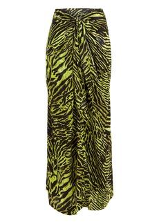 Ganni Tiger Print Silk Knotted Skirt
