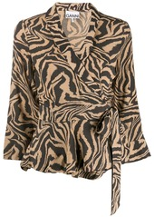 Ganni tiger print wrap blouse