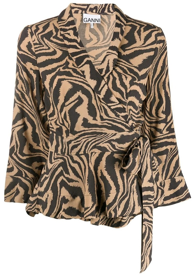 tiger print wrap blouse