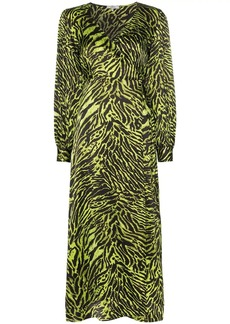 Ganni tiger print wrap dress