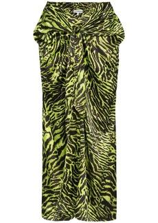 Ganni tiger print wrap front dress