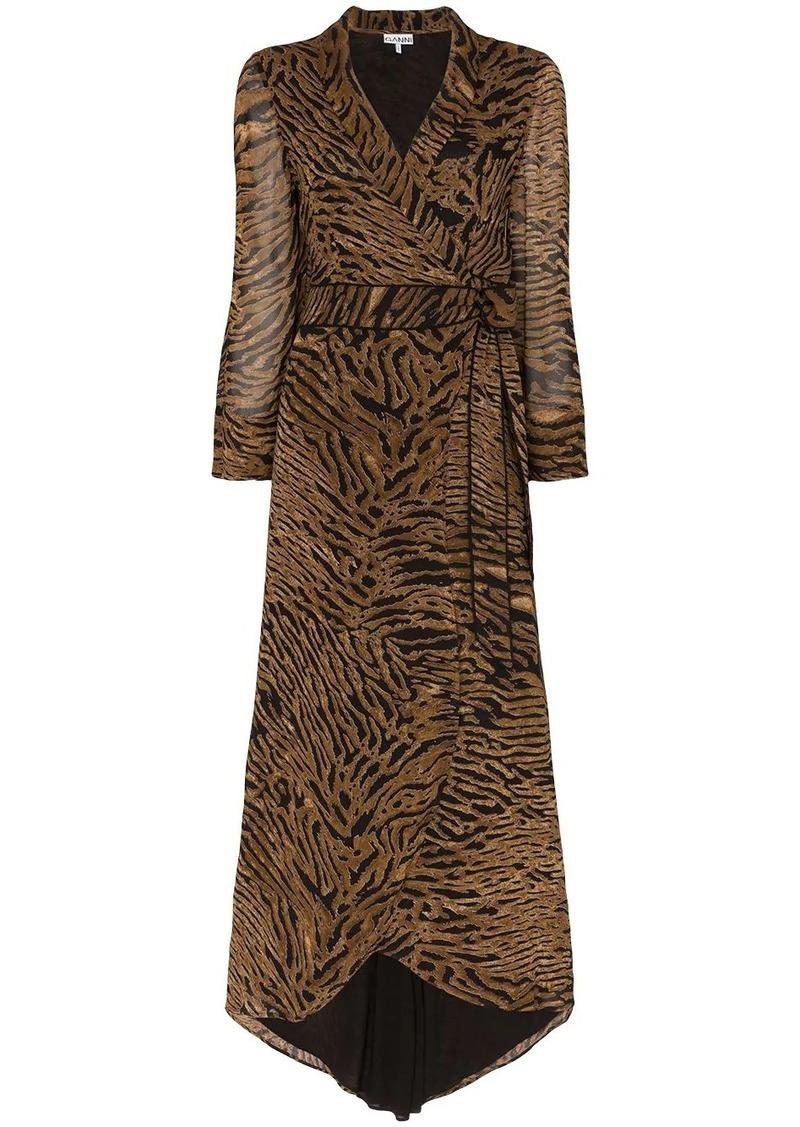 Ganni tiger stripe wrap dress