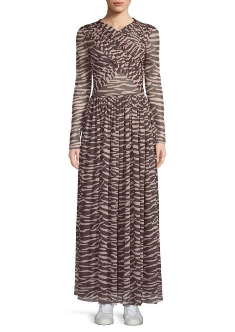6739e37a568 Ganni Tilden Criss Cross Mesh Zebra Printed Maxi Dress