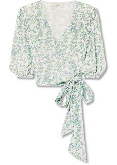 Ganni Tilden Cropped Floral-print Mesh Wrap Top