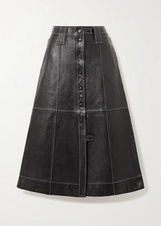 Ganni Topstitched Leather Midi Skirt