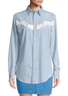 e471d0f3f17 Ganni Soft Denim Button-Down Shirt