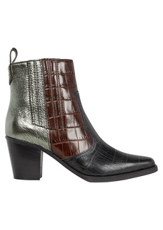 Ganni Western Colorblock Leather Ankle Boots