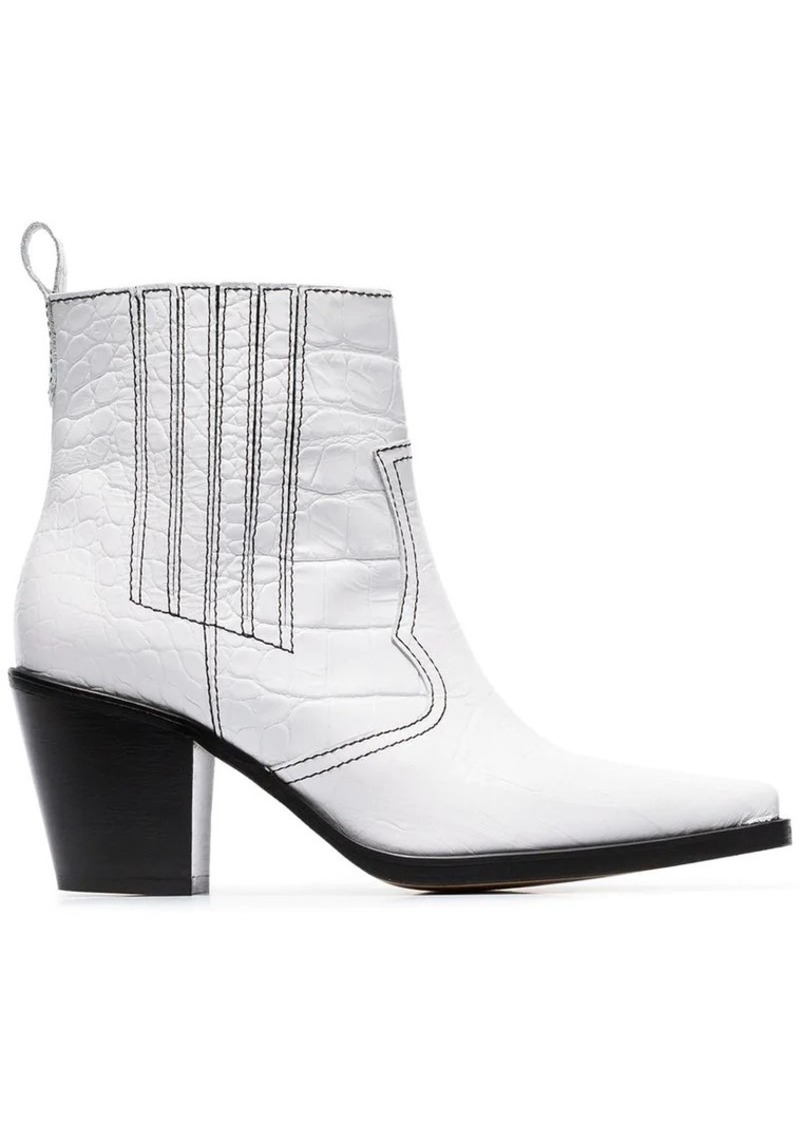329116f12238 Ganni white Callie 80 leather ankle boots