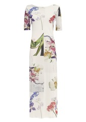 Ganni White Floral Mesh Maxi Dress