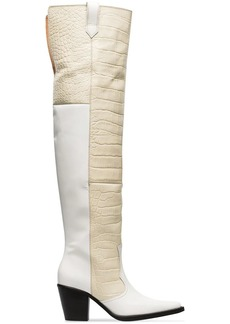 Ganni white Nadine 70 leather thigh high boots