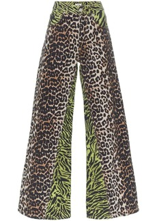Ganni wide-leg animal print jeans
