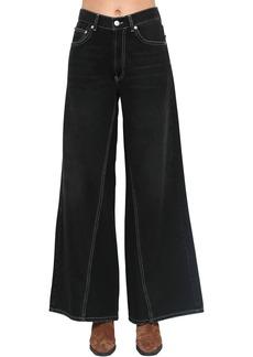Ganni Wide Leg Cotton Denim Pants