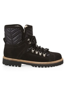 Ganni Winter Leather & Suede Shearling-Lined Hiking Boots