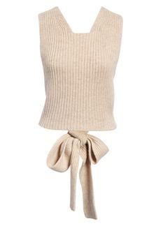 Women's Ganni Back Bow Sleeveless Sweater