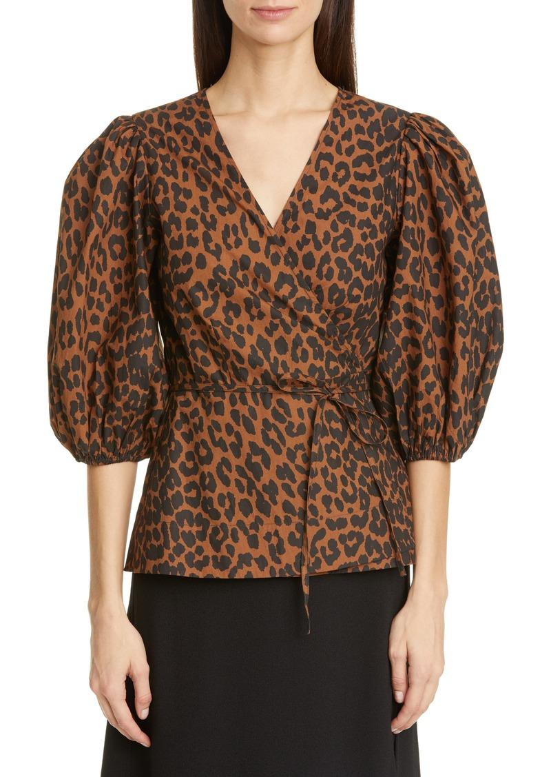 Women's Ganni Leopard Print Balloon Sleeve Organic Cotton Wrap Top