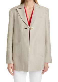 Women's Ganni Oversize One-Button Linen Blazer