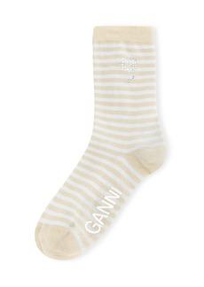 Women's Ganni Sparkle Stripe Crew Socks