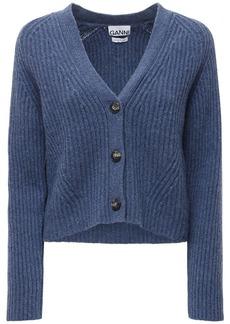 Ganni Wool Blend Rib Knit Cardigan
