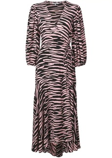 Ganni zebra print wrap dress