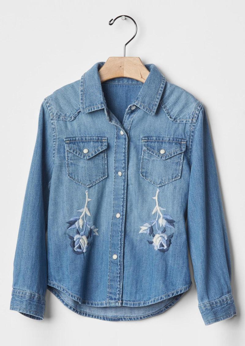 Gap 1969 embroidered denim western shirt