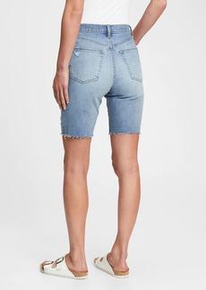 Gap 9'' High Rise Destructed Denim Bermuda Shorts With Washwell&#153