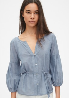 Gap Balloon Sleeve Button-Down Blouse in Chambray