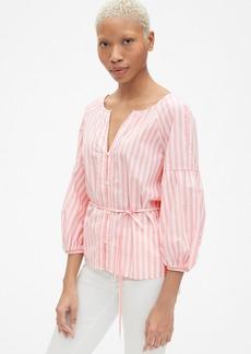 Gap Balloon Sleeve Stripe Button-Front Blouse in Poplin