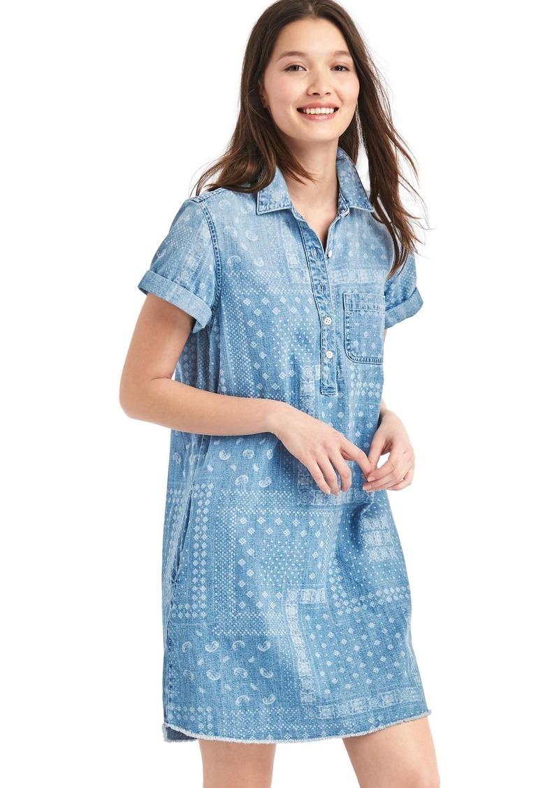 Gap Bandana denim popover shirtdress | Dresses