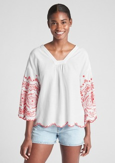 Gap Bell Sleeve Embroidered Blouse