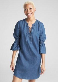 Gap Bell-Sleeve Lace-Up Denim Dress