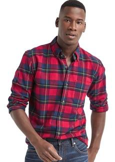Gap Brushed flannel plaid standard fit shirt