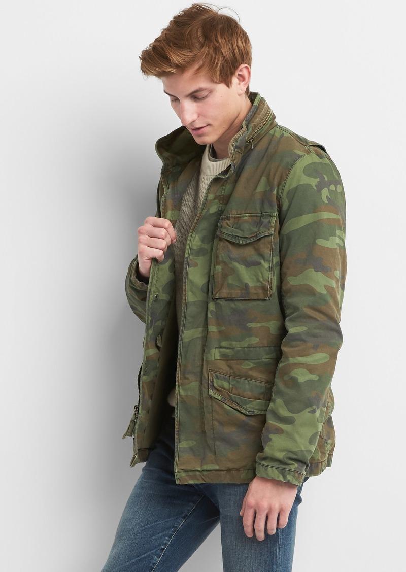 3127981aaa0e Gap Camo Print Military Jacket with Hidden Hood