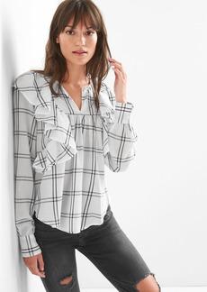 Gap Cascade ruffle plaid shirt